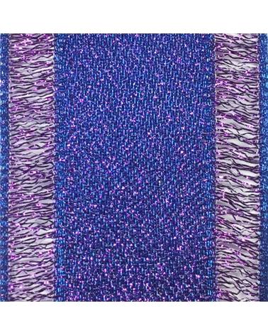 Fita Tecido Azul c/Bordos em Lilás - Azul - 40mmx10mts - FT4195