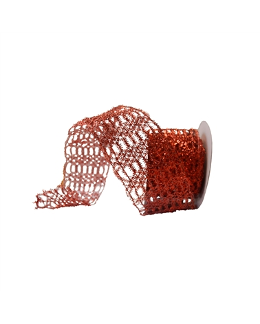 Fita Rede Metalizada de Natal Vermelha 65mmx10y - Vermelho - 65mmx10mts - FT4385