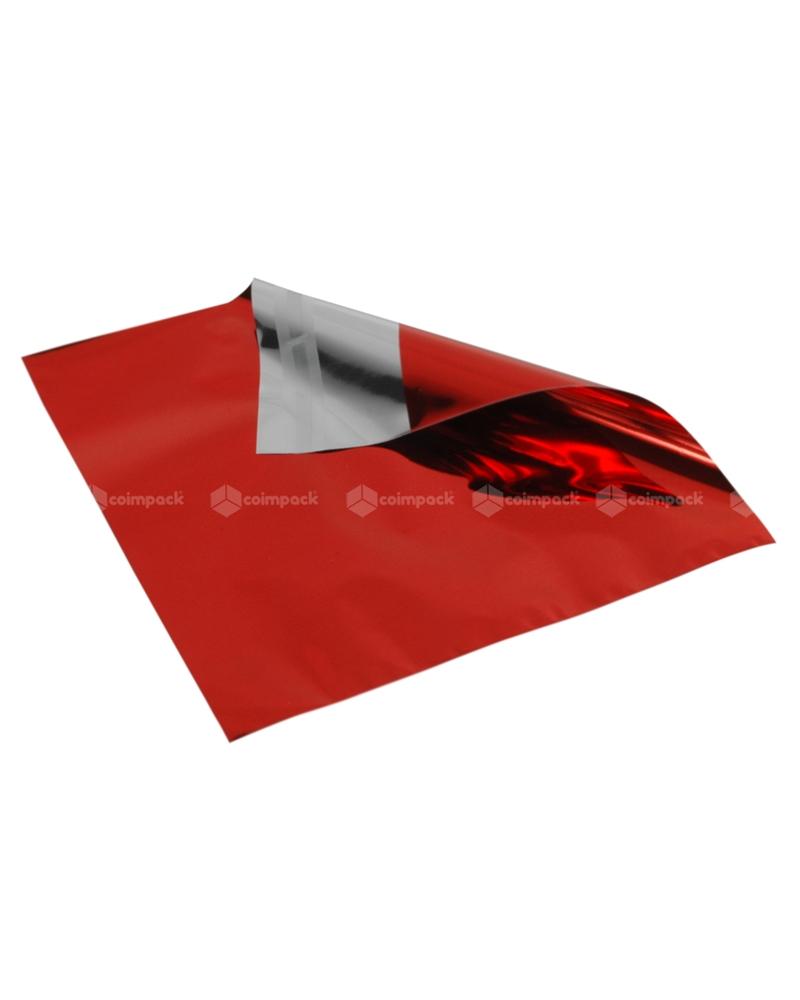 Saco c/Pala Autocolante Metalizado Fundo Vermelho - Vermelho - 18x15+5cm - SC3103