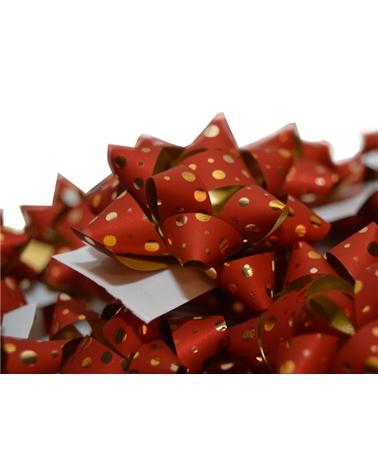 Laço Autoc. Metalizado Vermelho com Bolas - Vermelho - 10mm - LÇ0673