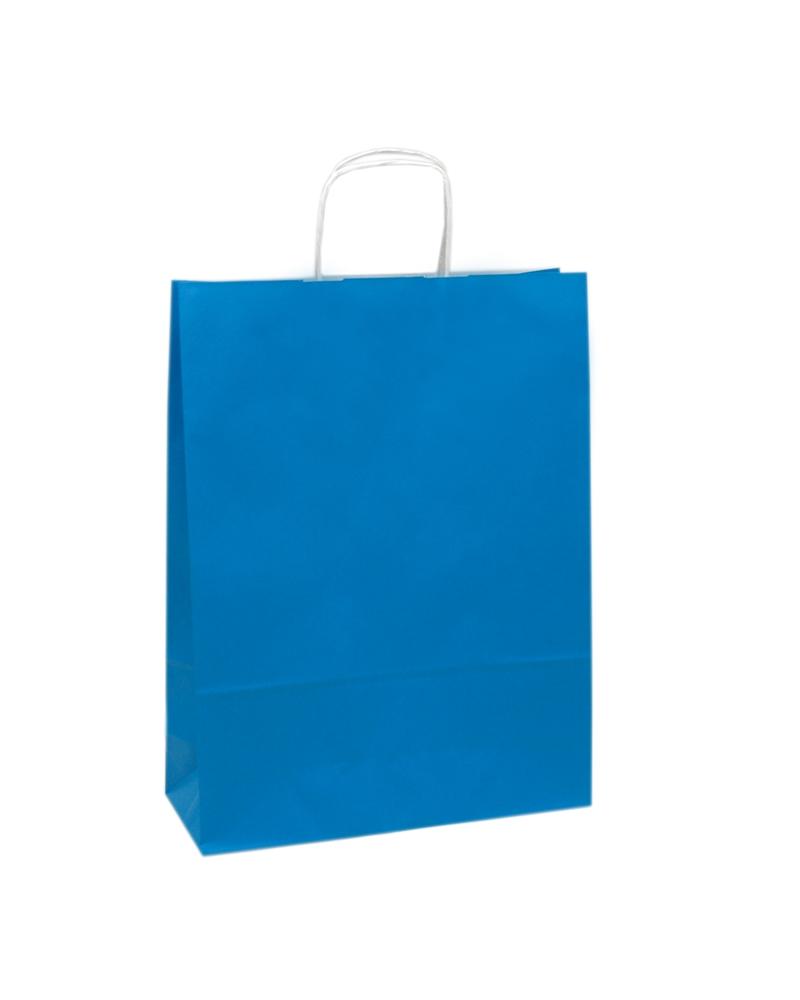 Saco Asa Retorcida Branco Liso Fundo Azul - Azul - 32+12x42 - SC3020