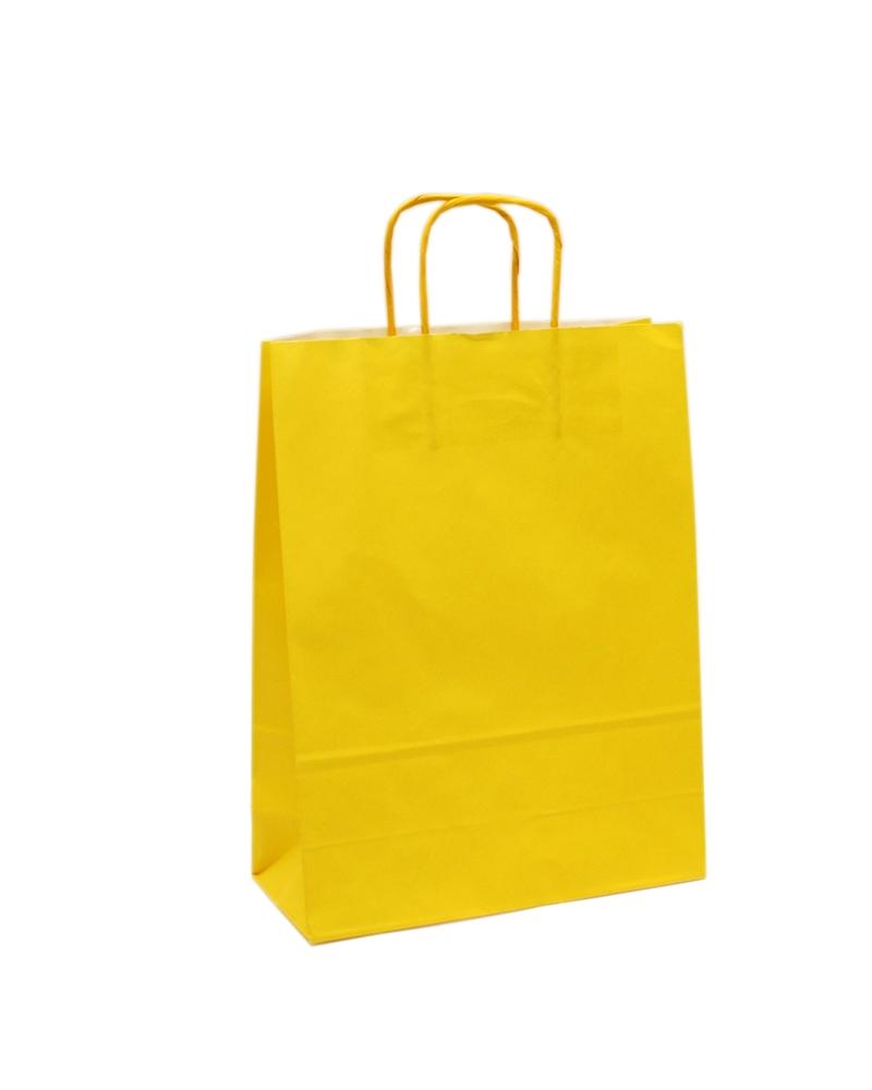Saco Asa Retorcida Branco Liso Fundo Amarelo - Amarelo - 32+12x42 - SC3201