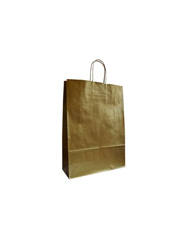 Saco Asa Retorcida Papel Kraft Liso Fundo Dourado - Dourado - 32+12x42 - SC3390