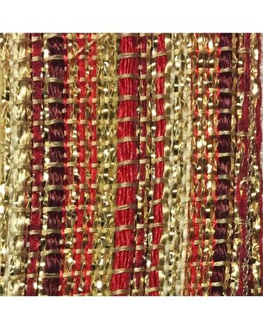 Fita Tecido Riscas Tons Vermelho/Ouro - Vermelho/Dourado - 25mmx10mts - FT5273